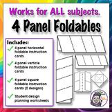Foldable - 4 Panel Series - Horizontal, Vertical, Box, Diamond Graphic Organizer