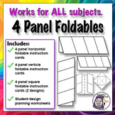 4 Panel Foldable Graphic Organizer - Horizontal Layout