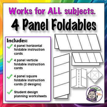 4 Panel Foldable Graphic Organizer - Horizontal Layout