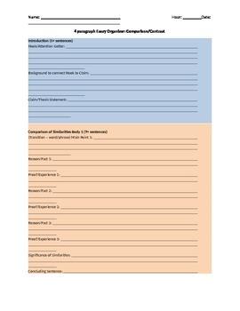4 Paragraph Graphic Organizer: Comparison and Contrast