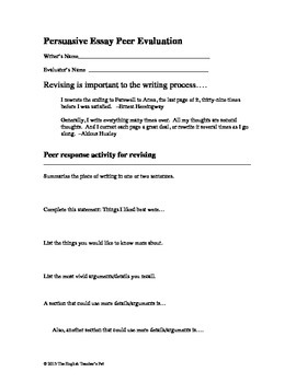 4 Peer Evaluation Sheets: Narrative, Persuasive, Fiction and Movie Critique