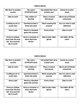 People Bingo Fun and Engaging Getting to Know YOUR Students First Week of School