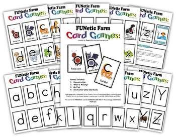 4 Phonics Card games - FUNetic Farm Animal Alphabet