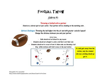 4 Physical Education Catch & Throw Stations w/lesson, diagram & station posters