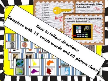 4 Pics 1 Vocab Word: Geography Interactive Bulletin Board Kit