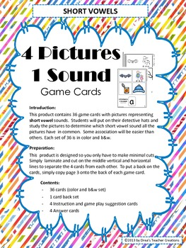 4 Pictures, 1 Sound Short Vowel Game Cards