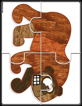 4 Piece Animal Jigsaw Puzzles  Complements Brown Bear