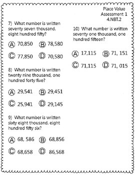 4 Place Value Gradecam Assessments Word Form to Standard Form CCSS 4.NBT.2
