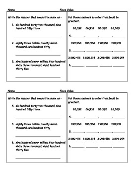 4 Place Value Worksheets