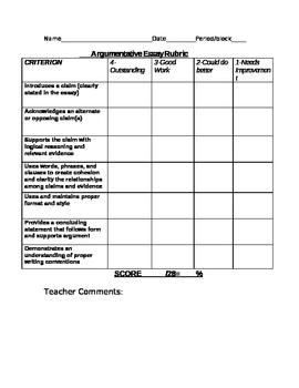 4 Point Editable Argumentative Essay Rubric CCSS