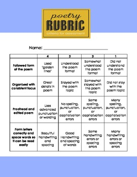 4 Point Poetry Writing  Rubric