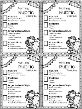 FREE 4-Point Writing Rubric (Checklist) for Expository Writing Grades 4-5 (NYS)