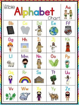 photograph regarding Alphabets Chart Printable named 4 Printable Bible Alphabet Charts. Preschool-Kindergarten Phonics.