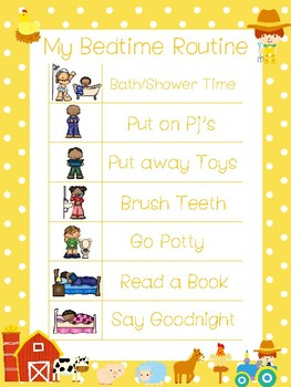 4 Printable Farm Daily Routine Charts.