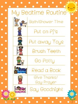 4 Printable Flower Daily Routine Charts.