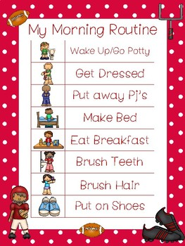4 Printable Football Daily Routine Charts.