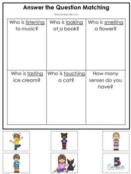 4 Printable Learn the 5 Senses Answer the Question Preschool Literacy Games.