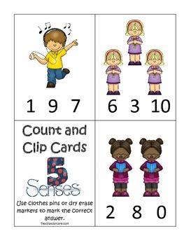 4 Printable Learn the 5 Senses Count & Clip Preschool Math Games.