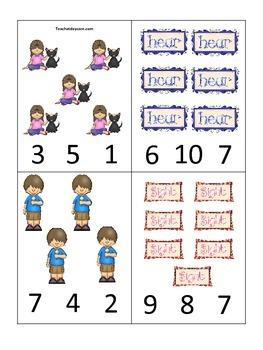 photo regarding Preschool Math Games Printable named 4 Printable Master the 5 Senses Rely Clip Preschool Math Video games.