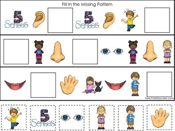 4 Printable Learn the 5 Senses Fill In the Missing Pattern Games.