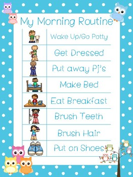 4 Printable Owl Daily Routine Charts.