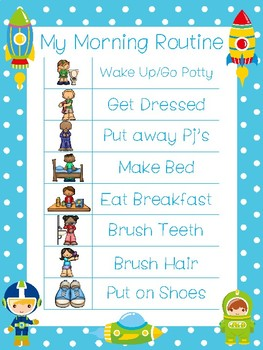 4 Printable Space Daily Routine Charts.