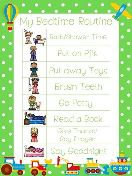 4 Printable Transportation Daily Routine Charts.