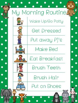 4 Printable Zoo Daily Routine Charts.