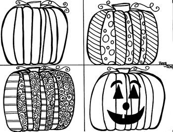 4 Pumpkins Coloring Sheet