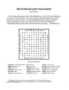 4 Puzzle,Edgar Allan Poe,Purloined Letter,Verb Search,Vocabulary,Crossword