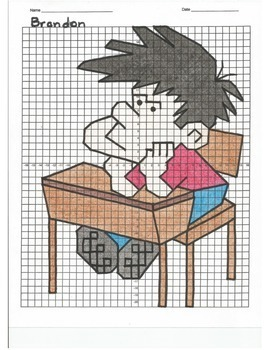 4 Quadrant Coordinate Graph Mystery Picture, Brandon the Bored Student