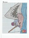 4 Quadrant Coordinate Graph Mystery Picture, Brian Shark Attack