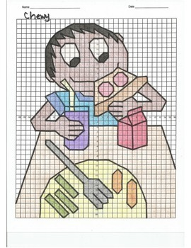 4 Quadrant Coordinate Graph Mystery Picture, Chewy Eating Lunch