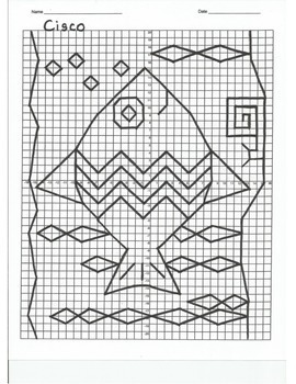 4 Quadrant Coordinate Graph Mystery Picture, Cisco Tropical Fish