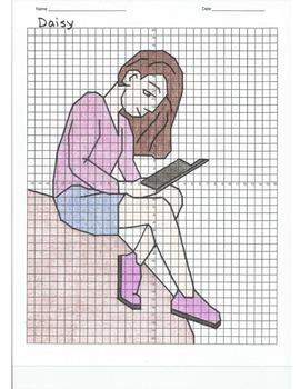 4 Quadrant Coordinate Graph Mystery Picture, Daisy Reading