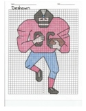 4 Quadrant Coordinate Graph Mystery Picture, Deshawn the Football Player