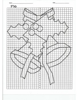 4 Quadrant Coordinate Graph Mystery Picture, Flo the Christmas Bells