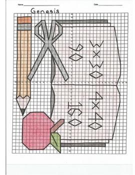 4 Quadrant Coordinate Graph Mystery Picture, Genesis Beginning of School