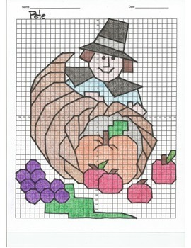 4 Quadrant Coordinate Graph Mystery Picture, Pete the Pilgrim