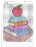 4 Quadrant Coordinate Graph Mystery Picture, Tish Stack of Books with an Apple