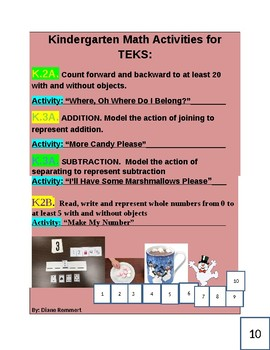 4 Ready to Go Kinder Activities for TEKS: K.2A. K.2B and K.3A