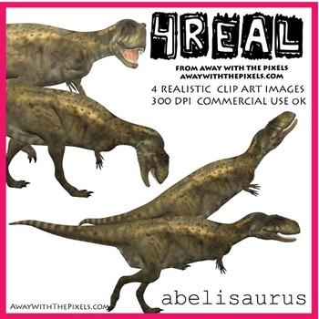 4 Real! 4 Realistic Dinosaur Clip Art Images - Abelisaurus