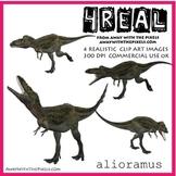 4 Real! 4 Realistic Dinosaur Clip Art Images - Alioramus