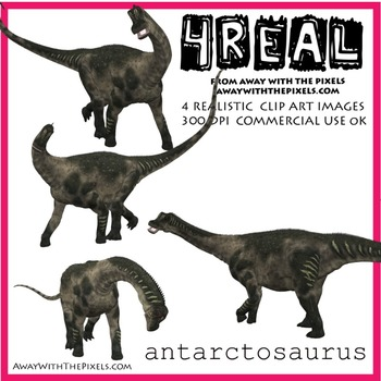 4 Real! 4 Realistic Dinosaur Clip Art Images - Antarctosaurus