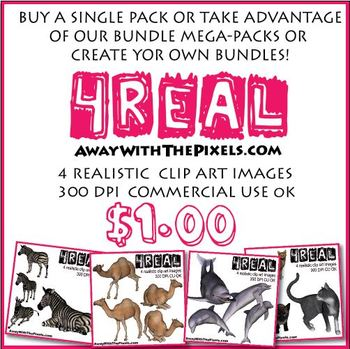 4 Real! 4 Realistic Elephant Clip Art Images - Large High Quality Images