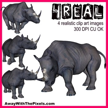 4 Real! 4 Realistic Rhino Clip Art Images From Away With T