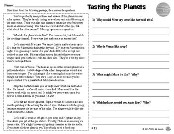 4 SAMPLE Space Reading Comprehension Passages: Fun Reading Comprehension