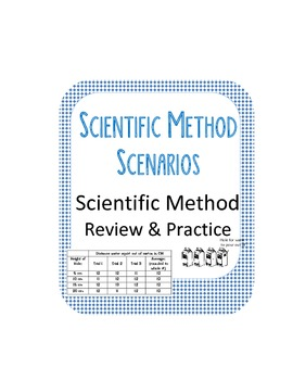 4 Scientific Method Scenarios- Review Concepts, steps & find variables, practice