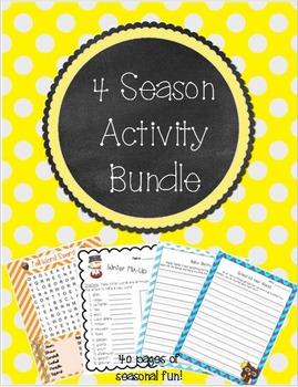 4 Season Activity Bundle ~ Math, Literacy, and Writing