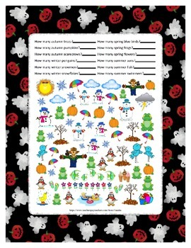 Winter Summer Spring Autumn Math ~ One Work Sheet ~ Many Holidays ~ 50 pages